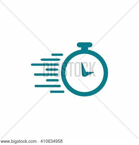 Time Faster Logo Design Template Clock With Faster Line On White Background Vector Illustration.