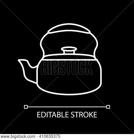 Tea Kettle White Linear Icon For Dark Theme. Teakettle For Drink Brewing. Kitchen Appliance. Thin Li