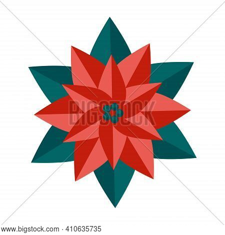 Simple Minimalistic Green Branch Of A Poinsettia With Leaves And Red Flower. Floral Collection Of Co