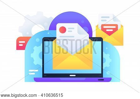 Modern Email Marketing Delivery Ad For Spread Of Information Using Internet. Concept Online Delivery