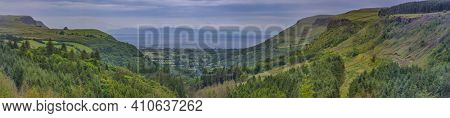 panoramic view on Glenariff known as Queens of the Glens and the biggest of the nine Glens of Antrim, County Antrim, Northern Ireland, UK