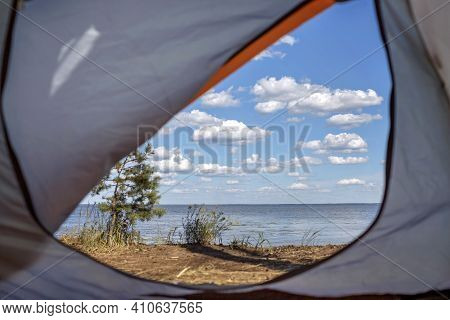 View From The Tent At Campsite On The Beach Among Wild Forest, Active Lifestyle, Family Recreational