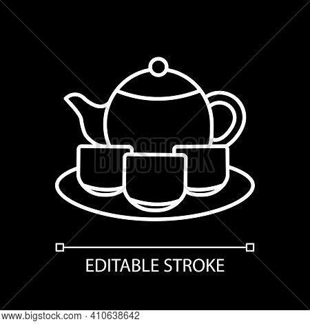 Tea Set White Linear Icon For Dark Theme. Serving Drinks. Tea Ceremony. Pitches And Saucer, Teacups.