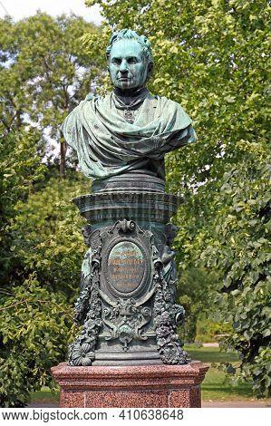 Vienna, Austria - July 12, 2015: Andreas Zelinka Bronze Bust Monument At City Park In Wien, Austria.