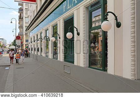 Vienna, Austria - July 12, 2015: Famous Plachutta Restaurant At Wollzeile Street In Wien, Austria.