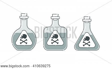 Three Form Bottle Poison With Skull In Profile For Concept Design. Dangerous Container. Potion Bever