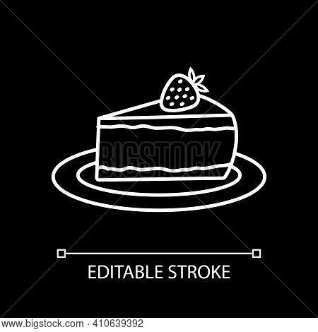 Cheesecake On Plate White Linear Icon For Dark Theme. Cake Slice. Sweet Dessert. Thin Line Customiza