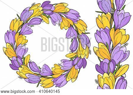 Floral Spring Wreath With Yellow And Lilac Crocuses And Seamless Brush Pattern. Vector Illustration