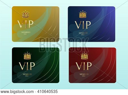 Vectors Vip Card. Set Of Gold Cards. Blue, Red, Green And Gold. Background With Gold Lettering Invit