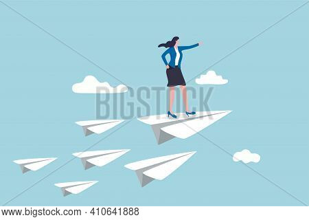 Business Leadership, Woman Power To Lead Company To Achieve Target, Smart Confidence Businesswoman S