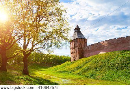 Veliky Novgorod, Russia. Veliky Novgorod Kremlin Fortress, Savior Tower On The Hill, Summer Travel L