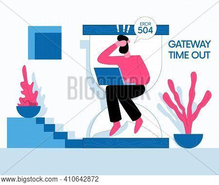 Download Error Illustration Vector, Gateway Timeout Concept