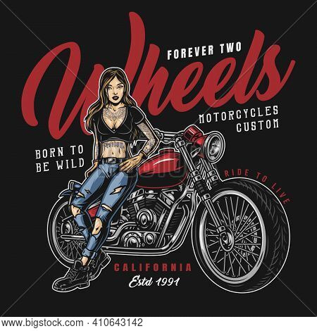Vintage Motorcycle Colorful Label With Inscriptions And Tattooed Pretty Female Biker Standing Near M