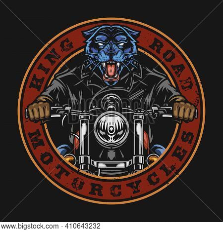 Motorcycle Vintage Round Badge With Inscriptions And Ferocious Panther In Biker Jacket Riding Motorb