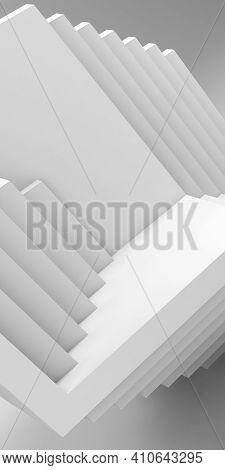 Abstract White Geometric Installation Of Empty Cubical Shapes, Vertical Cgi Background Pattern. 3d R