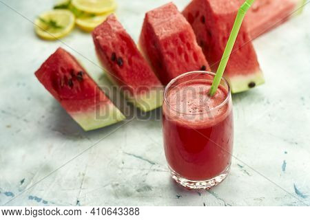 Super Delicious And Sweet Watermelon Juice On The Glass. Fresh Summer Fruits Background. Sweet Water