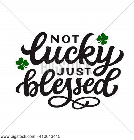 Not Lucky Just Blessed. Hand Lettering Quote With Shamrocks Isolated On White Background. Vector Typ