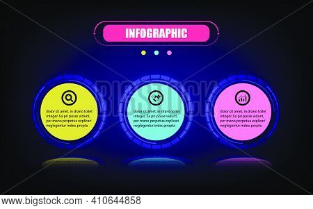 Vector Infographic Circle Label Banner Elements And Number 3 Steps. Presentation Business Infographi
