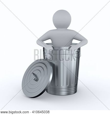 man into garbage basket on white background. Isolated 3D illustration