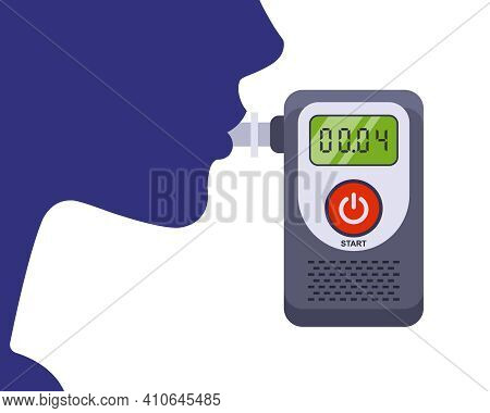 The Driver Exhales Into The Breathalyzer. Testing A Person For Alcohol Intoxication. Flat Vector Ill