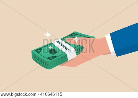 Dividends Stock Payment, Passive Income From Dividend Yield Concept, Rich And Wealthy Businessman Ha