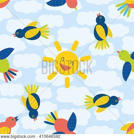 Cute Cartoon Bird And Laughing Sun Seamless Vector Pattern Background. Fun Multicolor Flying Birds A