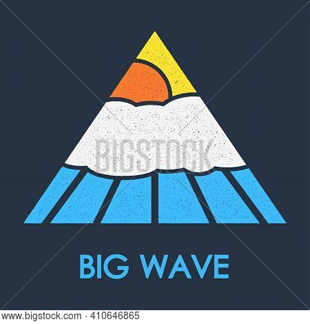 Big Wave T-shirt Logo Retro Design With Sunlight, Clouds And Water Wave. Grunge And Vintage Style. T