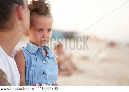 Little Girl Crying Mother Daughter Summer Beach. Child Upset And Cry Adorable Caucasian Kid Cry Chil