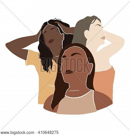 Three Women Of Different Skin Colors Together. The Concept Of Female Solidarity, Support And Friends