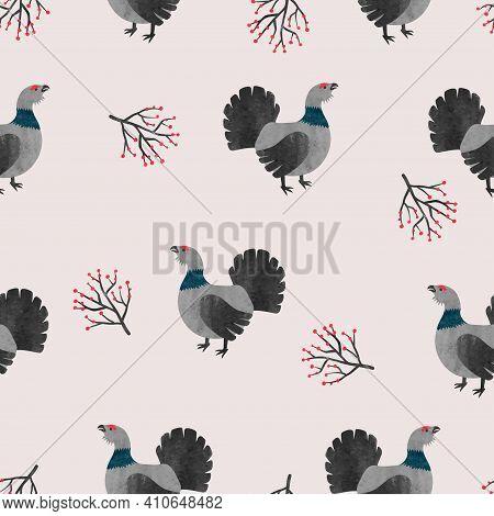 Seamless Capercaillie Bird Pattern. Vector Illustration With Cartoon Grouse