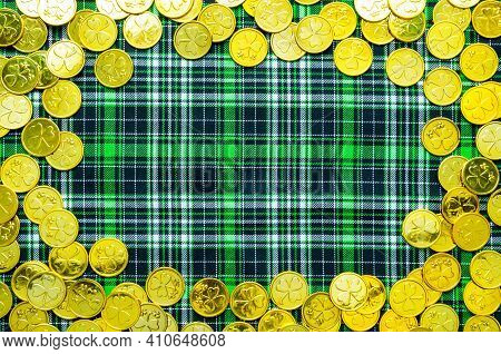 St Patricks Day background,St Patricks Day golden coins on the green checkered cloth, St Patricks day concept, St Patricks day border,St Patricks Day frame,St Patricks Day still life, St Patricks Day composition,St Patricks Day design
