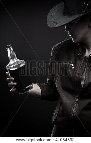 Cowboy With Bottle Of Wisky