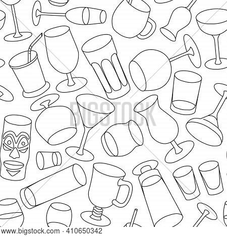 Hand-drawn Doodle Cartoon Style Bar Cocktail Glasses Such As High Ball Martini Margarita Old Fashion
