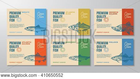 Fish Labels Set. Abstract Vector Packaging Design Layouts Collection. Modern Typography And Hand Dra