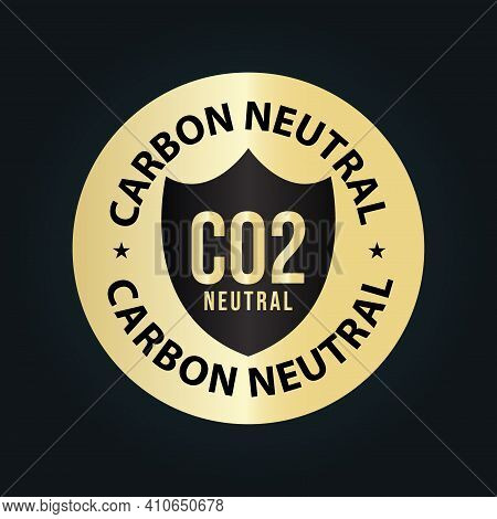 Carbon Neutral Vector Golden Symbol. Co2 Neutral Abstract