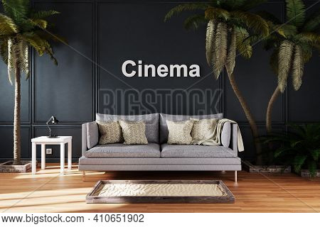 Elegant Living Room Interior With Single Vintage Sofa Between Large Palm Trees; Cinema Lettering; Tr