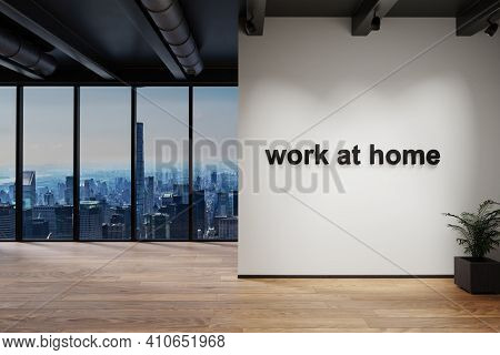 Workplace And Cozy Couch Side By Side In Large Office Building With Skyline View; Work At Home Conce