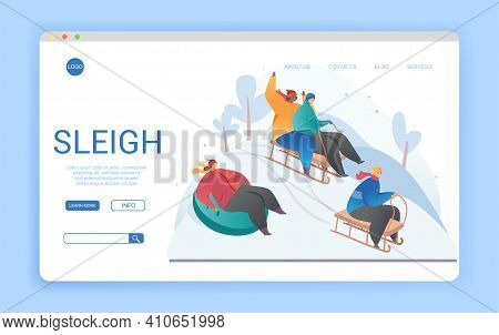 Website Landing Page Design For Sleighs With Copyspace Showing Various People Enjoying A Sleigh Or T