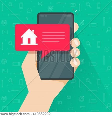 Notice Info Message From Smart Home Automation Control On Cellphone Mobile Phone App Screen Vector F