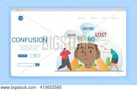 Website Template Design Conceptual Of Confusion With Copyspace And People With Hands To Head Below T