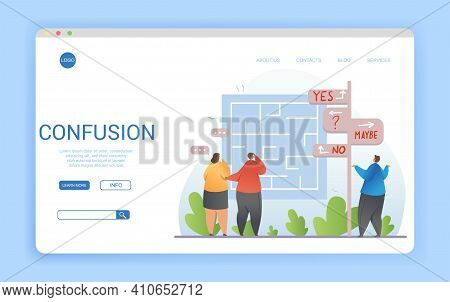Confusion Concept In A Website Landing Page Design With People Holding Hands To Head Facing A Maze W