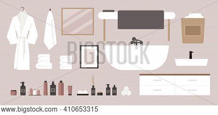 Vector Flat Spa Salon Interior. Modern Bathroom Set. Deluxe Hotel, Massage, Suite. Bath, Towels, Bat