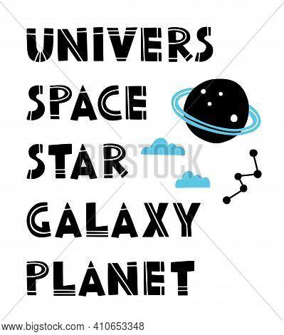 Vector Flat Space Alphabet For Kids. Alphabet Poster For Kids In Space Style. Space Kids, Alphabet F