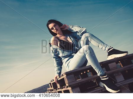 Young Sexy Woman Wearing Jeans Pants And Shirt.
