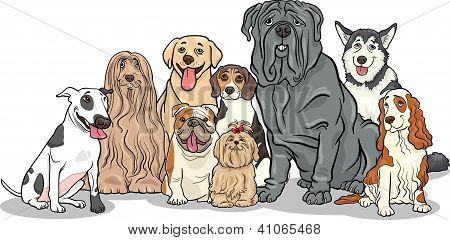 Cartoon Illustration of Funny Purebred Dogs or Puppies Group poster