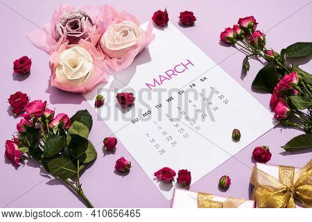 Beautiful Composition For Congratulating Girls On March 8. Calendar Is On The Table In Honor Of The