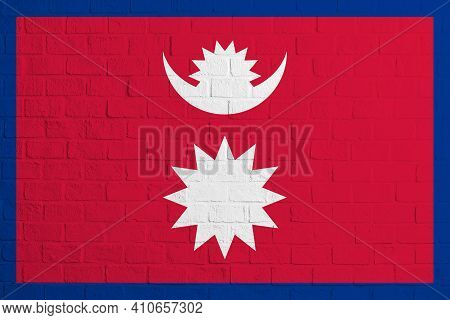 Flag Of Nepal. Brick Wall Texture Of The Flag Of Nepal.