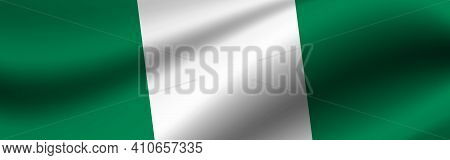 Banner With The Flag Of Nigeria. Fabric Texture Of The Flag Of Nigeria.