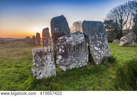 Sunrise At Carnac, Brittany, France, A Unesco World Heritage Site.