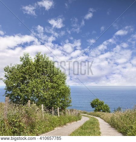 Path To Sea, Generic Landscape Or Seascape In The Basque Country, Spain.